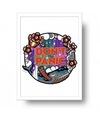 Don't Panic Whale print by...