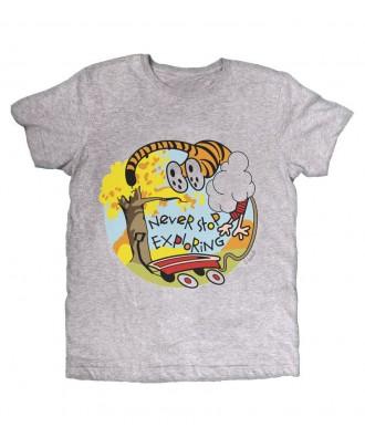 Camiseta Gris Never stop...