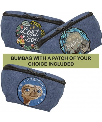 Blue bumbag with a patch of...